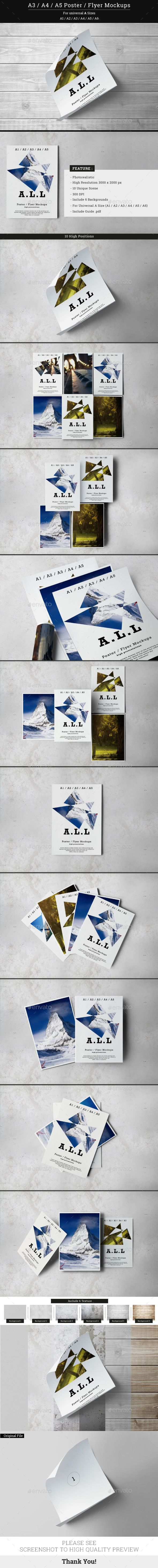 A3 / A4 / A5 Poster / Flyer Mockups - Posters Print