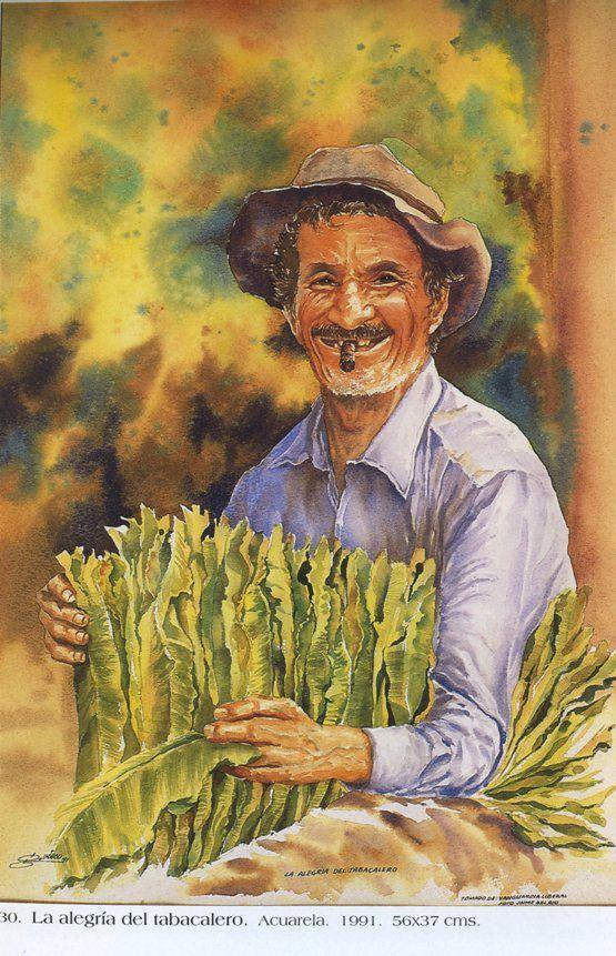 La alegría del tabacalero. Acuarela. 56 x 37 cms. 1991 Germán Vieco Betancur