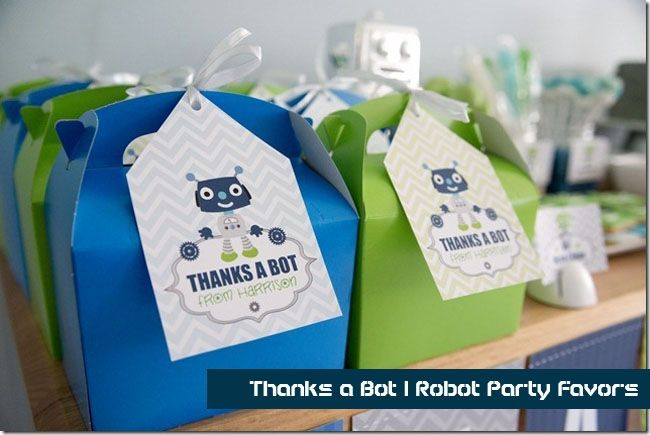 Robot Birthday Party Favor on @spaceshipslb blog - full of boy party ideas
