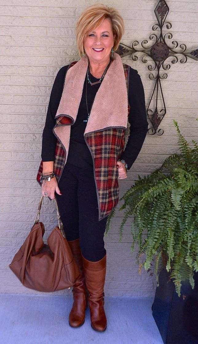 50 IS NOT OLD | PLAID SHERPA VEST | Black and Brown | All Black | Turquoise | Fall and Winter | Fashion over 40 for the everyday woman
