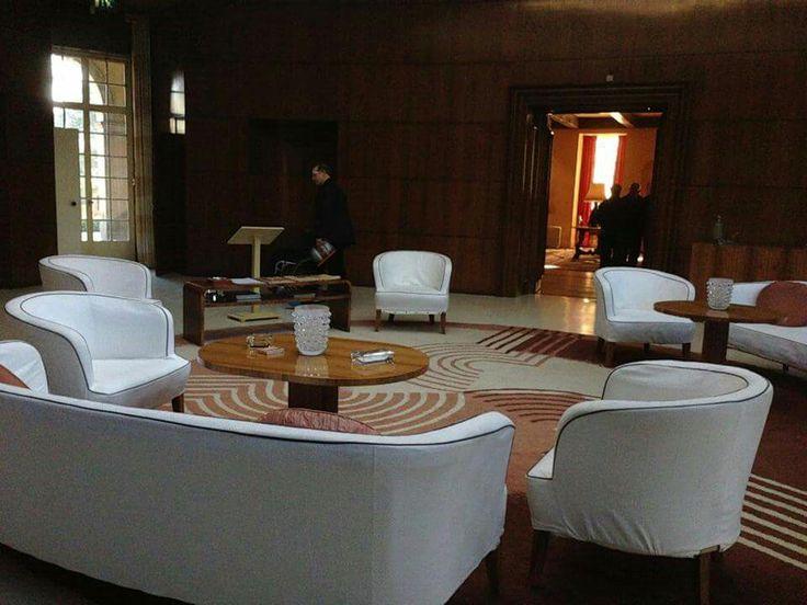 The front lounge, Eltham Palace. Eltham Palace, English Heritage. London, England