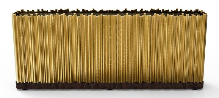 J. Emmanuel Symphony Sideboard Exlusive Furniture  #JE #JEmmanuel #Sideboard #Modern #Cabinet #Gold #Wood #Sophisticated #Tubes #MetalWork #Luxury #GroupeLuxe
