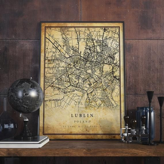 Lublin Vintage Map Poster Wall Art City Artwork Print Etsy City Artwork Vintage Map Poster Wall Art