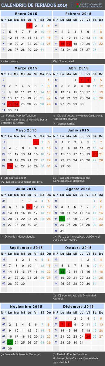 ¿Cuántos feriados habrá en 2015? Conocé todo el calendario | Turismo