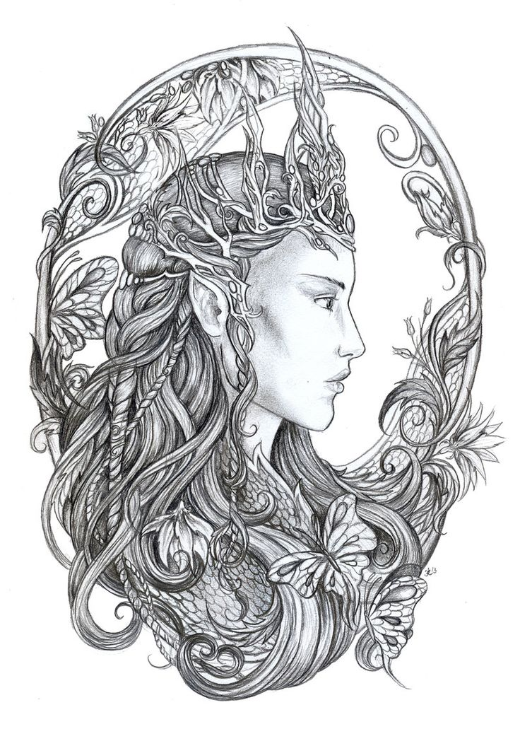 Elven Queen By jankolas On DeviantART Coloring Pages Pinterest Adult Coloring Sugar