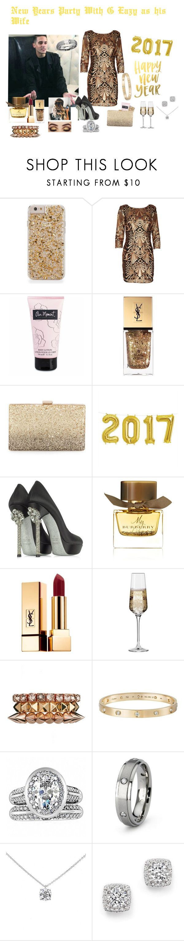 """""""New Years Party With G Eazy as his Wife"""" by jordonpayne ❤ liked on Polyvore featuring Yves Saint Laurent, Neiman Marcus, Loriblu, Burberry, Krosno, ASOS, Cartier, Fantasy Jewelry Box, Tiffany & Co. and Bloomingdale's"""