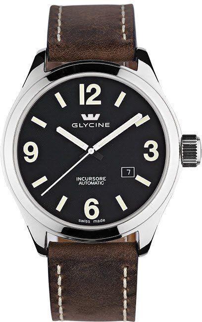 Glycine Watch Incursore III 44mm Automatic #bezel-fixed #bracelet-strap-leather…