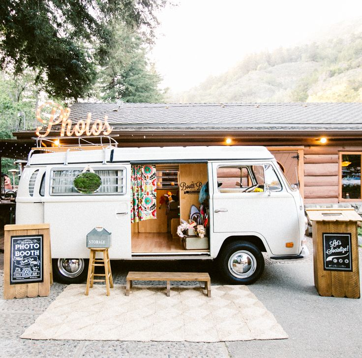 Unique Vintage Volkswagen Bus Photo Booth based in Northern California- serving Carmel, Santa Cruz, San Francisco, Marin and Napa and Sonoma. The Booth Bus is the life of every wedding, party, and corporate event!