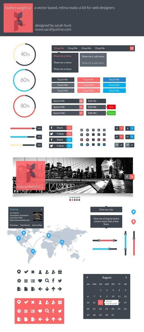 Flat web elements flat design / Flat ui kit / Flat layout