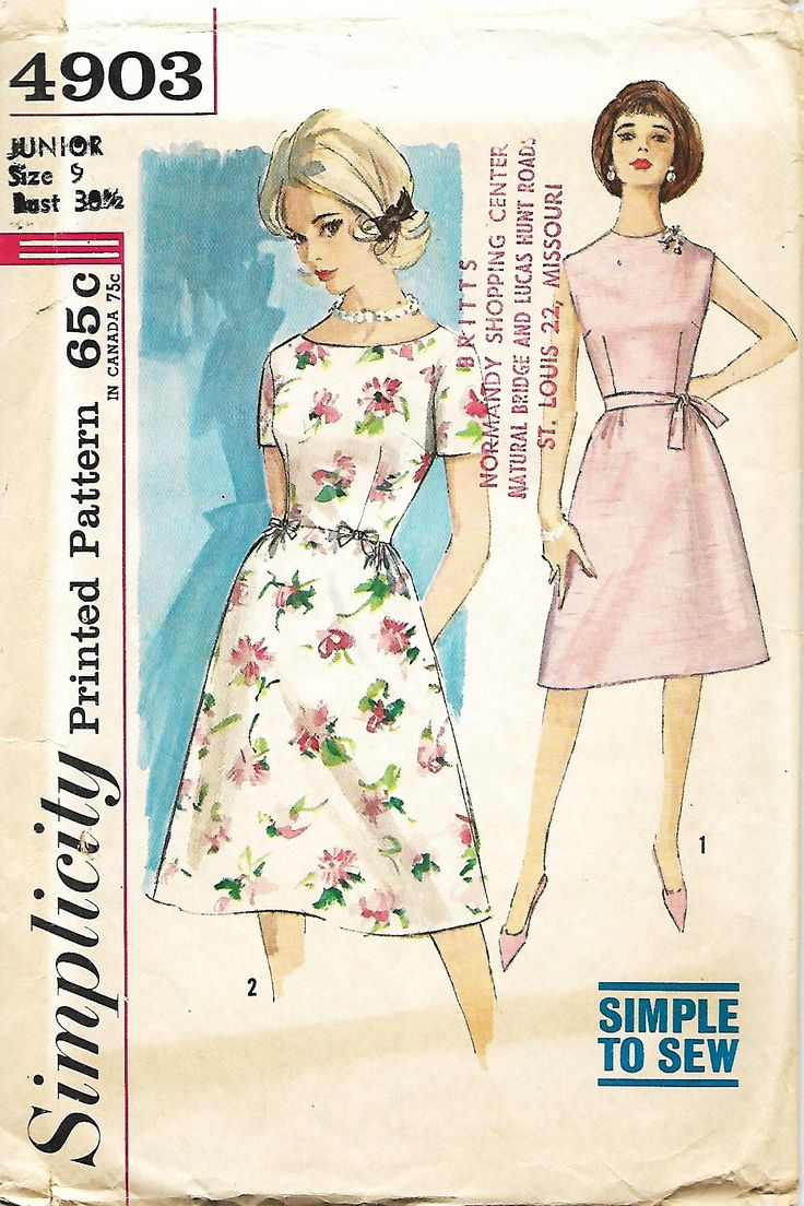 1960's Simplicity 4903 Junior And Misses Simple To Sew One Piece Dress With Waistline Bows Or Belt Sewing Pattern, Bust 30 1/2 by DawnsDesignBoutique on Etsy