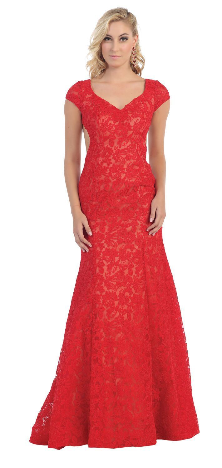 Open Back Prom Ballgown Fitted Lace Evening Gown