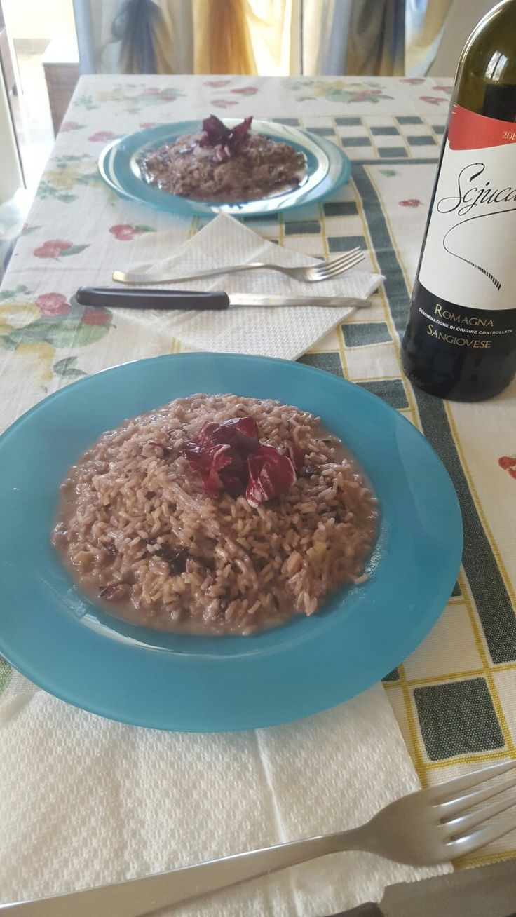 Risotto al radicchio sfumato al vino rosso sangiovese e mantecato con provola affumicata