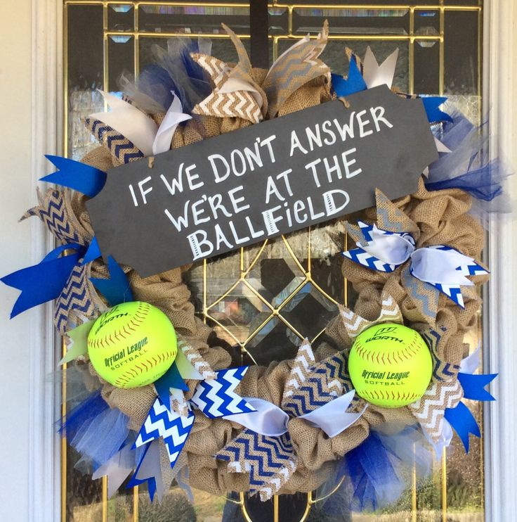 A personal favorite from my Etsy shop https://www.etsy.com/listing/267449116/softball-wreath