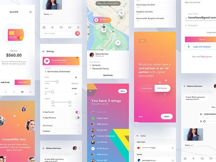 Dating app screens - iPhone X version.  Get more updates here Instagram   Twitter   Behance