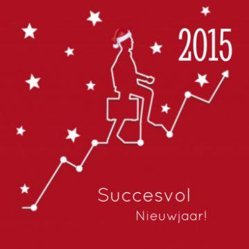 Zakelijke nieuwjaarskaart rood met man met koffer en kerstmuts op, lopend op een stijgende grafiek naar 2015.