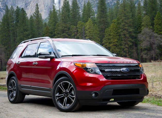 2013 Ford Explorer Sport in Yosemite with trees - front three-quarter view