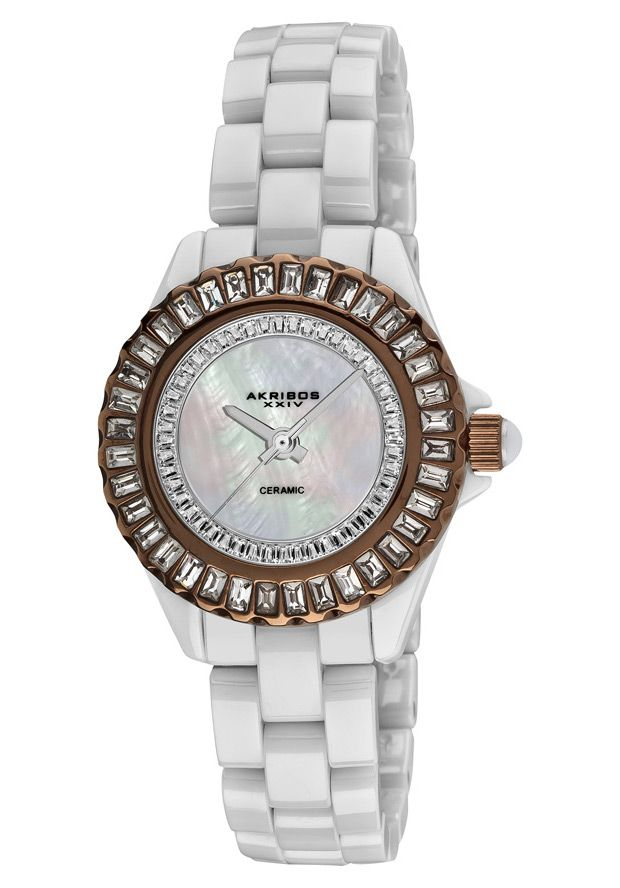 Price:$153.00 #watches Akribos XXIV AK518BRW, This dazzling Akribos XXIV ladies' ceramic fashion timepiece features a bezel adorned with dazzling crystals baguettes. The mother of pearl inner dial surrounded with two rows of baguettes makes this a luxurious timepiece.