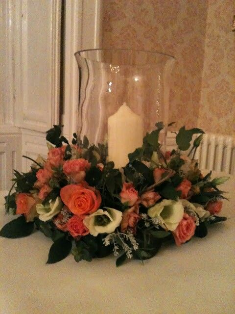 Hurricane vase table decoration