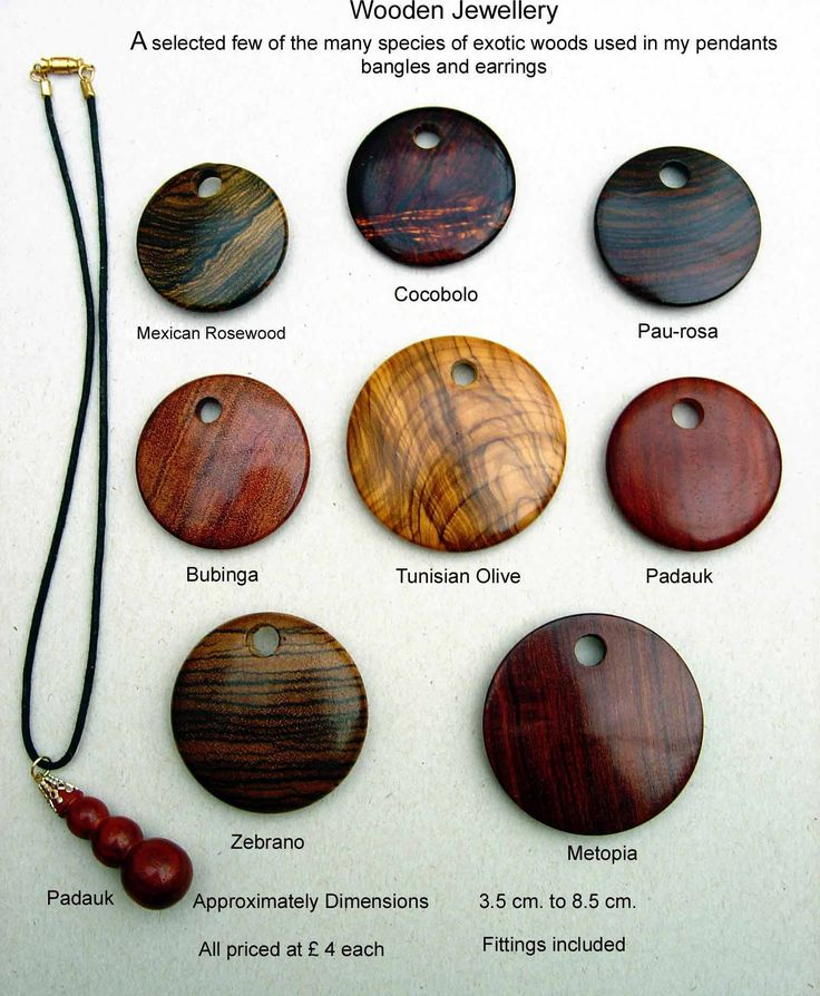 Pendants in Exotic woods