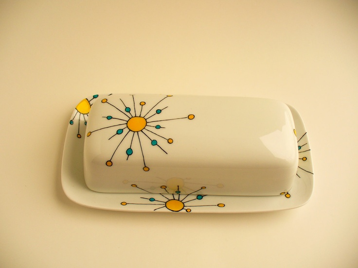 Hand painted butter dish Atomic design by ROCKYBCREATIONS on Etsy. $40.00, via Etsy.