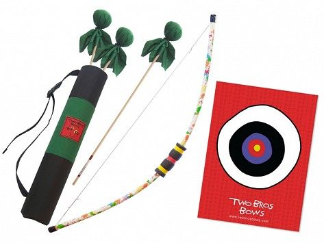Two young brothers are the inspiration behind kids' archery sets for outdoors lovers like them. The Made in the USA kit includes a bow, three matching arrows, a bullseye target, and a matching quiver bag. The waterproof bag stows up to five soft-tipped arrows in between practice sessions and backyard battles.