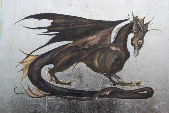 detail of the black dragon, Icefire, for Fool's Fate by Robin Hobb