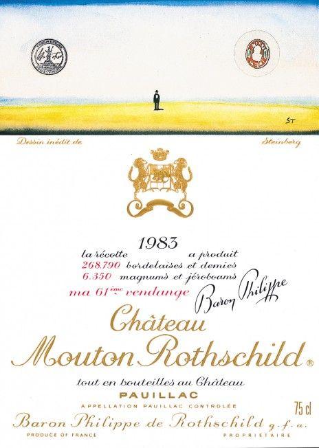 Etiquette Mouton Rothschild 1983 Saul STEINBERG