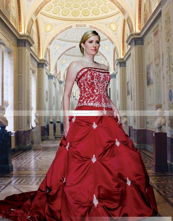 Impressionnant A-ligne Sans bretelle Longueur sol Chapelle Appliques Colorée Robe de mariée grande taille