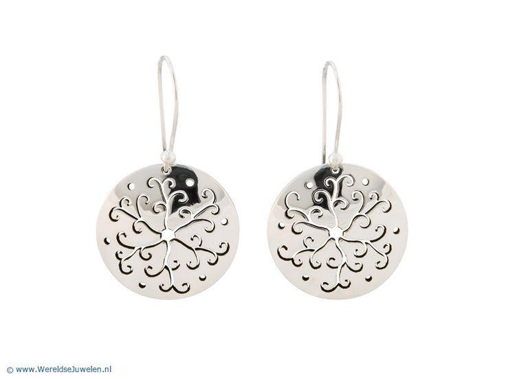Zilveren Oorbellen - Mexicaanse zilveren oorbellen met bloemmotief