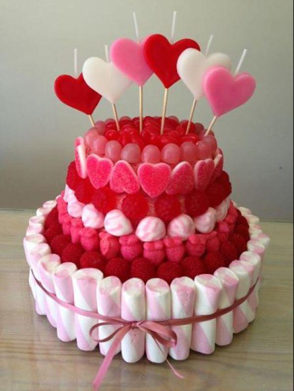 tortas con golosinas para san valentin