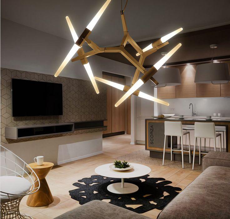Post-современный минималистский гостиной лампы творческой кованого железа ветви дерева Nordic House ресторан дизайнер одежды личность люстра - Taobao