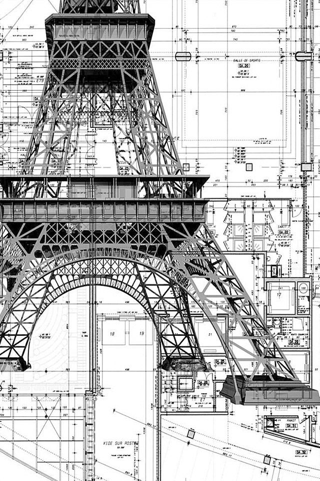 IPhone Wallpaper Eiffel Mechanics Architecture BlueprintsArchitecture DesignArchitecture Drawing