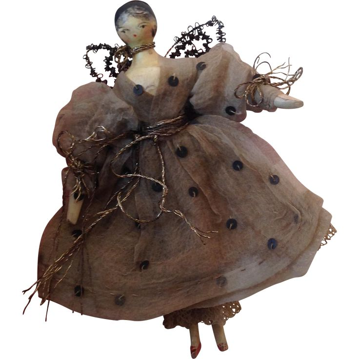 Early 19ThC Grodnertal Fairy in early banded box from dollyweatherwax on Ruby Lane