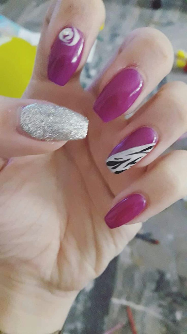Fucsia viola zebrato argento glitter rosa