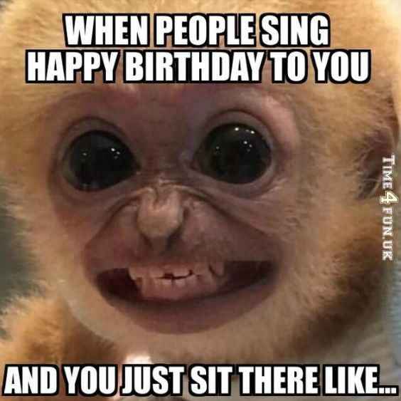 When peoples sing Happy Birthday to you and you sit there smiling like an idiot .