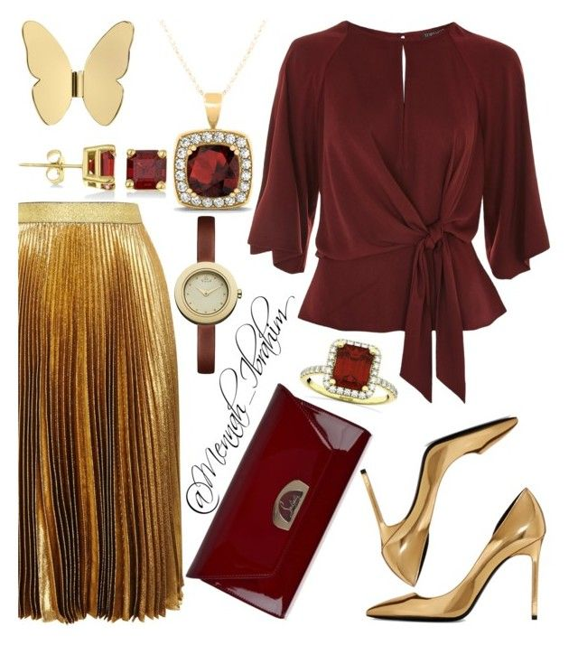 #Golden_maroon by mennah-ibrahim on Polyvore featuring polyvore fashion style Topshop Christopher Kane Yves Saint Laurent Christian Louboutin Allurez Vivienne Westwood Ghidini 1961 clothing