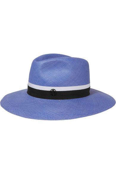 Maison Michel - Henrietta Grosgrain-trimmed Straw Fedora - Blue - M