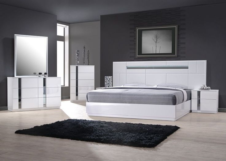 The Palermo Bedroom adds a bold contemporary vibe to your sleep space   White Lacquer with Mirror Accents  Featuring clean horizontal lines and  lighted. Best 25  Modern bedroom furniture sets ideas on Pinterest   Modern