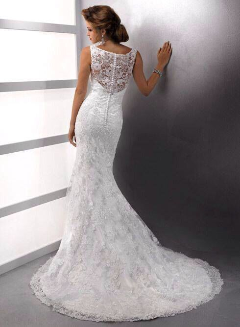 Lace fishtail wedding dress, love the hair with this