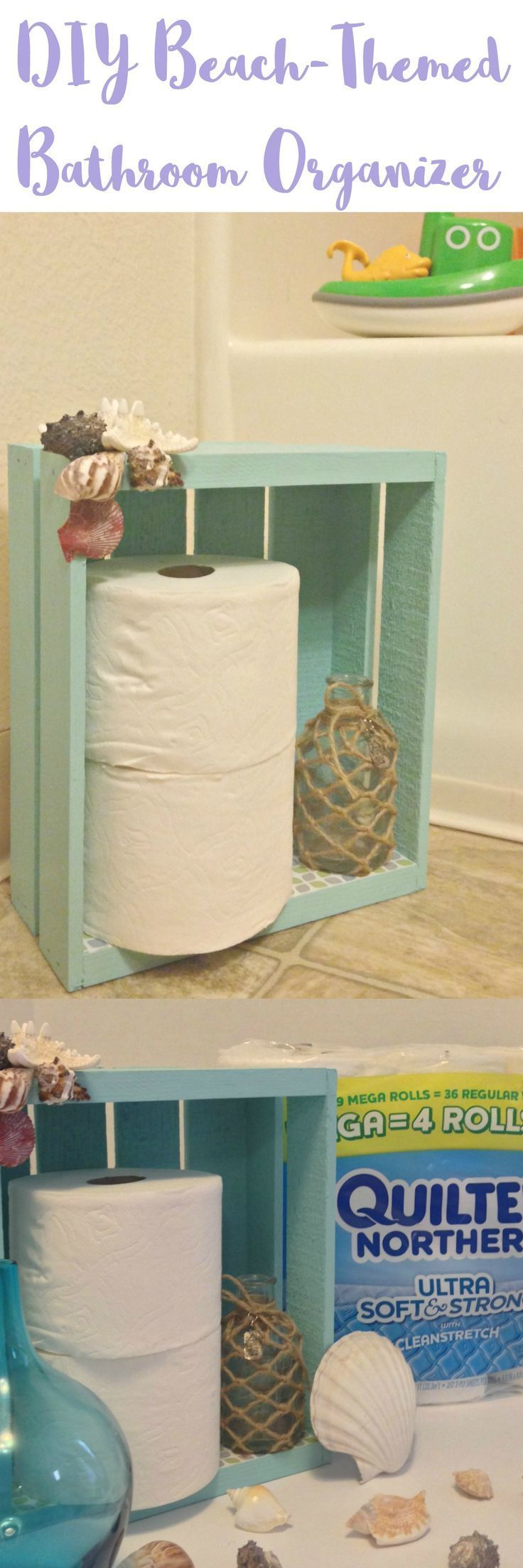 If you're doing a remodel or just need ideas for cheap bathroom storage on a budget, this little shelf organizer is great for small space bathrooms. We use it in our beach themed bathroom, and use shells to add a rustic texture to it. It's easy to make and can sit on the floor or be used on the wall as shelves. @Walmart #MegaPrepped #ad
