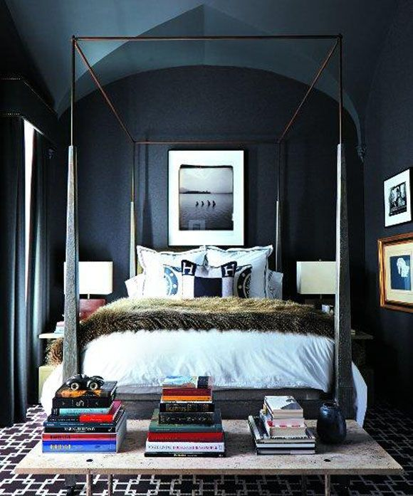 Gorgeously chic dark bedroom, with a simple modern canopy bed, fur blanket, graphic rug and stacked books.