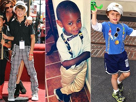 Suit up! London Hudson, Usher IV and Gable Nealon step out in their own fashion-forward versions of the traditional suspenders style. #bestdressedkids.com #childrensclothes