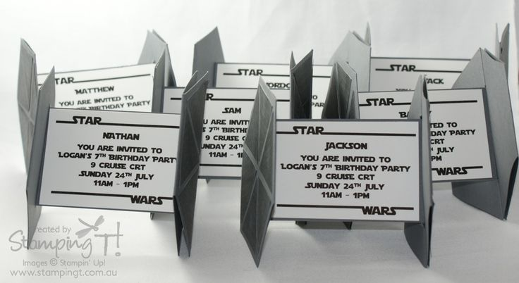 coolest star wars birthday invitations ever! I love that they fold flat, but Tie Fighters are the bad guys vehicles.