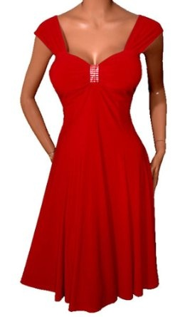FUNFASH RED SLIMMING EMPIRE WAIST COCKTAIL CRUISE DRESS NEW Plus Size Made in USA REVIEW