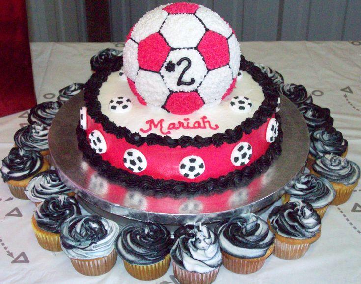 Pink Soccer Birthday Cake - Little Girls B-day cake!