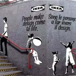 Ikea street marketing campaign inspiring in Banksy style.