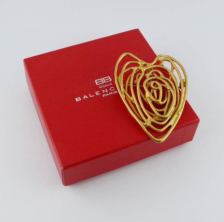 Balenciaga Vintage Wired Heart Brooch Pendant 1990
