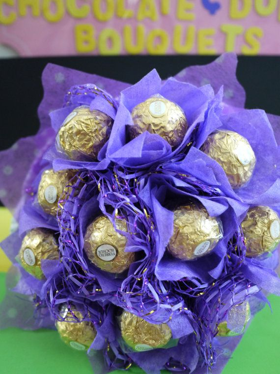 110cs Ferrero Rocher Chocolates in a purple themed Flower Bouquet - Chocolate Birthday Gift For Her!!