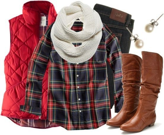 This is a transversal country outfit. Go for dark jeans and if you decide to remove the jacket, do a simple fold-over scarf sape or else your neck will be too bunched together.