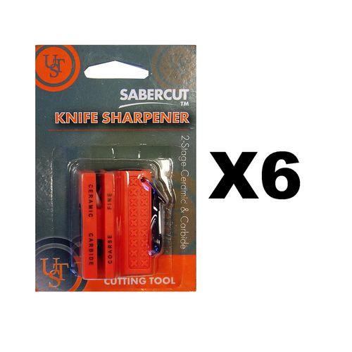 Ultimate Survival Technologies Ceramic Knife Sharpener Orange w/Carbide (6-Pack)